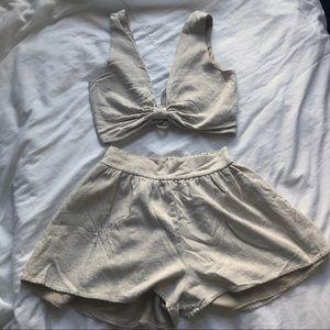 Cream Linen matching set